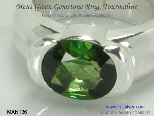 green tourmaline ring for men