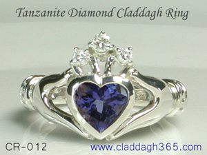 diamond and tanzanite claddagh ring