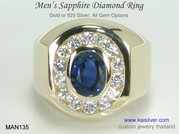 big ring for men sapphire and diamonds