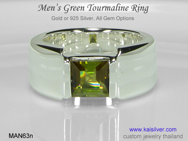 tourmaline ring for men silver or gold